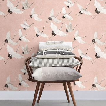 Picture of Windsong Pink Crane Wallpaper