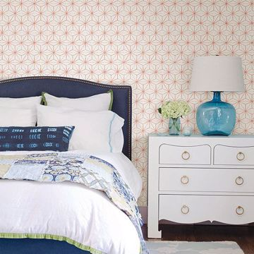 Picture of Orion Coral Geometric Wallpaper