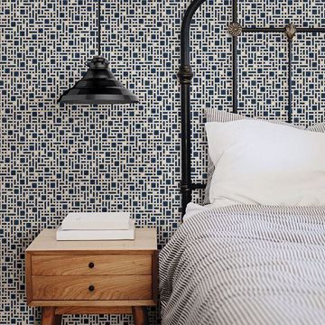 Picture of Bento Indigo Geometric Wallpaper