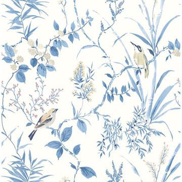 Picture of Imperial Garden Blue Botanical Wallpaper