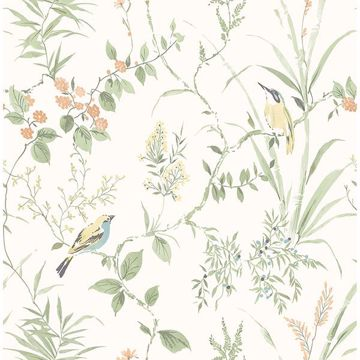 Picture of Imperial Garden Light Green Botanical Wallpaper