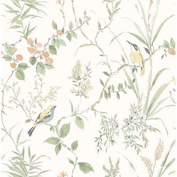 Picture of Imperial Garden Light Green Botanical Wallpaper