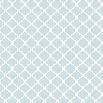 Picture of Watercolor Blue Quatrefoil Wallpaper