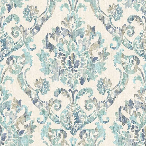 Picture of Shasta Teal Damask Wallpaper