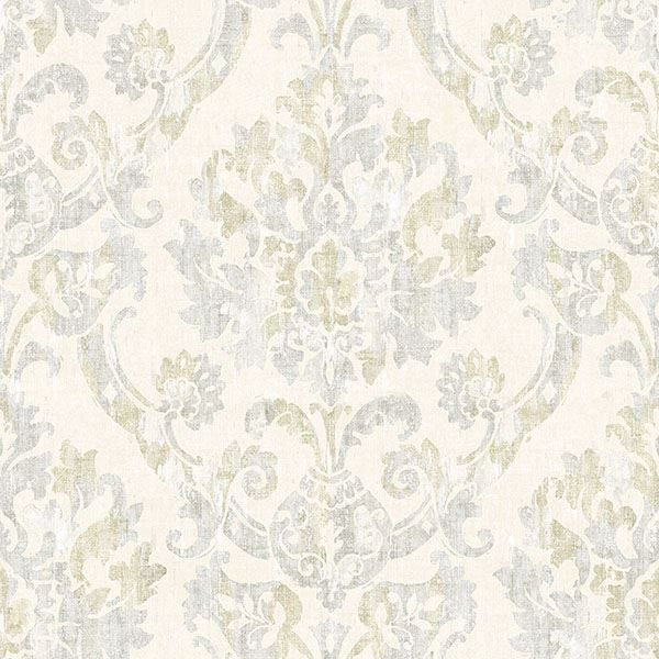 Picture of Shasta Grey Damask Wallpaper