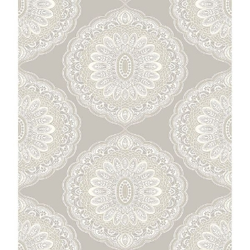 Picture of Bolinas Grey Medallion Wallpaper