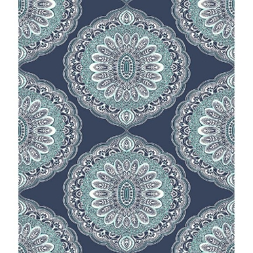 Picture of Bolinas Navy Medallion Wallpaper