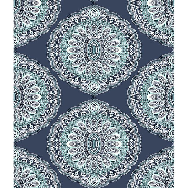 3117 12304 Bolinas Navy Medallion Wallpaper By Chesapeake