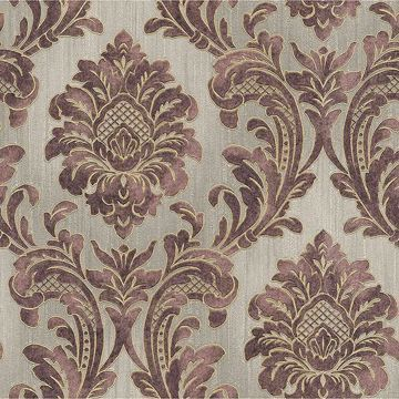 Picture of Giudecca Eggplant Damask Wallpaper