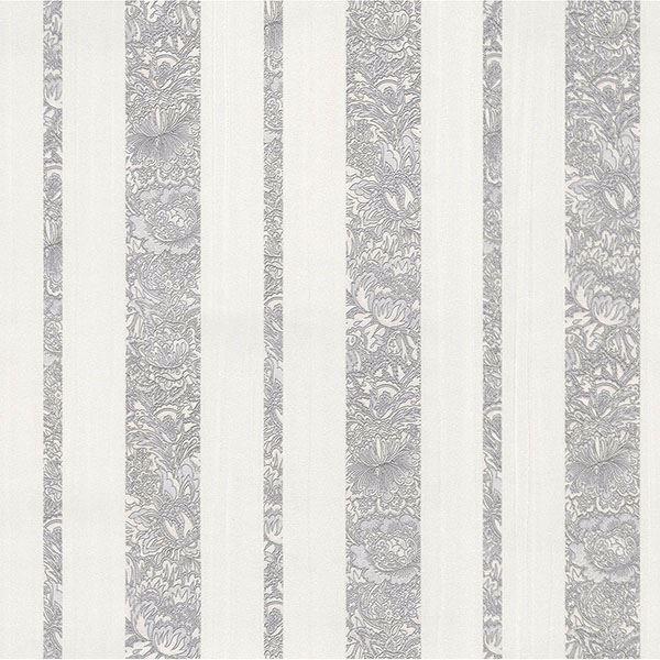 Picture of Certosa Silver Floral Stripe Wallpaper