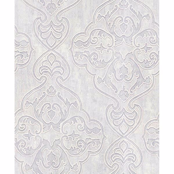 Picture of Elena Platinum Damask Wallpaper