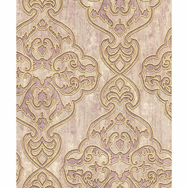 Picture of Elena Mauve Damask Wallpaper