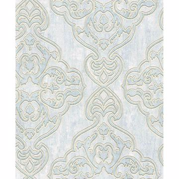 Picture of Elena Light Blue Damask Wallpaper