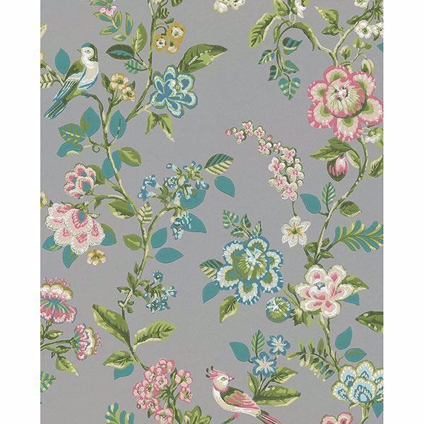 Picture of Willem Taupe Painted Garden Wallpaper