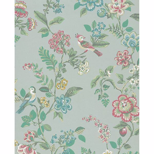 Picture of Willem Mint Painted Garden Wallpaper