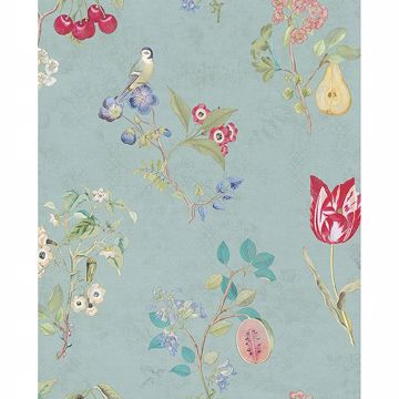 Picture of Danique Teal Garden Wallpaper
