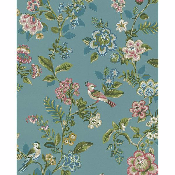Picture of Willem Teal Painted Garden Wallpaper