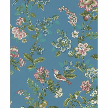 Picture of Willem Sapphire Painted Garden Wallpaper