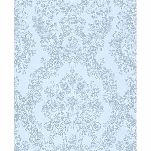 375045 Grillig Light Blue Damask Wallpaper By Eijffinger