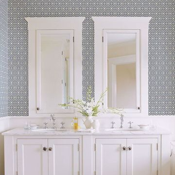 Picture of Boxwood Blue Geometric Wallpaper