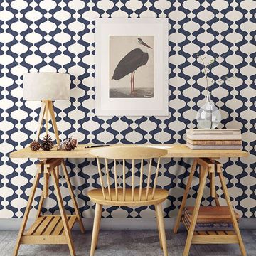 Picture of Ashbury Navy Retro Wallpaper