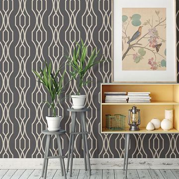 Picture of Coventry Charcoal Trellis Wallpaper