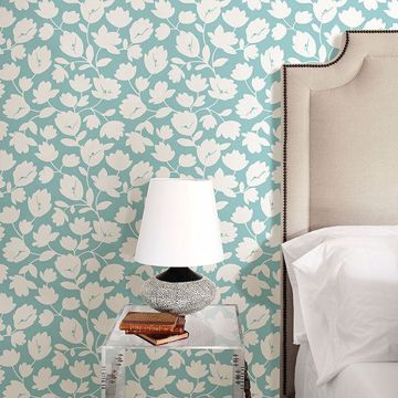 Picture of Astrid Turquoise Floral Wallpaper