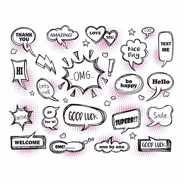 Picture of Pink Speech Bubbles Wall Mural