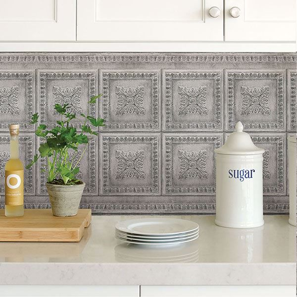 Picture of Grey Vintage Tin Peel and Stick Backsplash