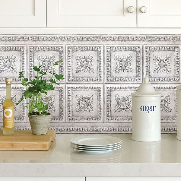 Picture of White Vintage Tin Peel and Stick Backsplash