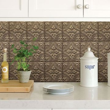 Picture of Bronze Tin Tile Peel and Stick Backsplash