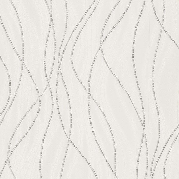 Picture of Onyx White Dotted Lines Wallpaper