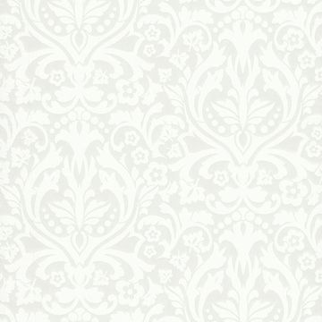 Picture of Petal Silver Flocked Damask Wallpaper