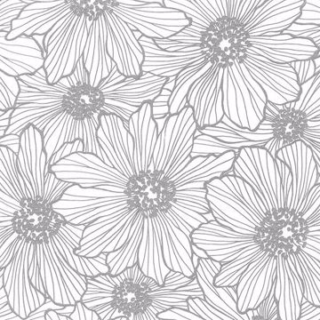 Picture of Vivienne Silver Floral Wallpaper