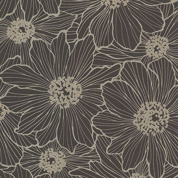 Picture of Vivienne Black Floral Wallpaper