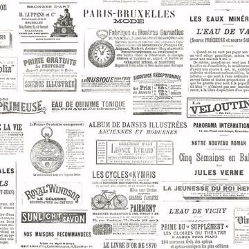 Picture of Ayer Black Vintage Newspaper Wallpaper