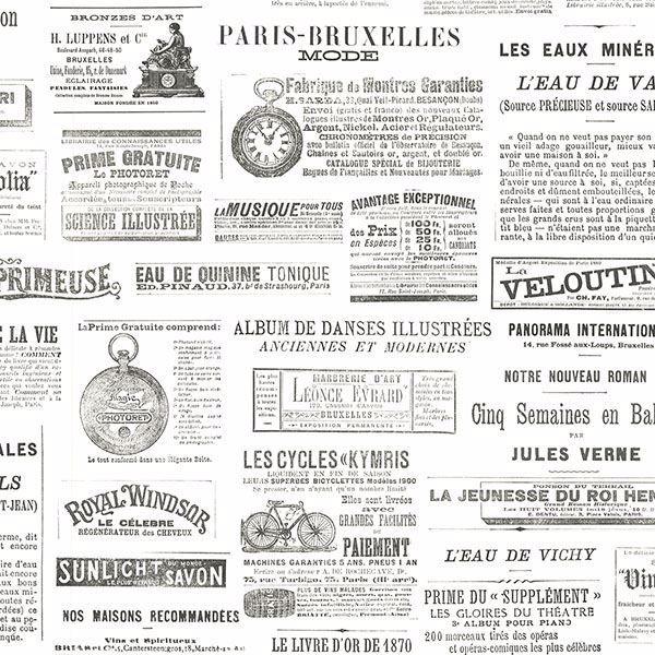 Picture of Ayer Black Vintage Newspaper Wallpaper