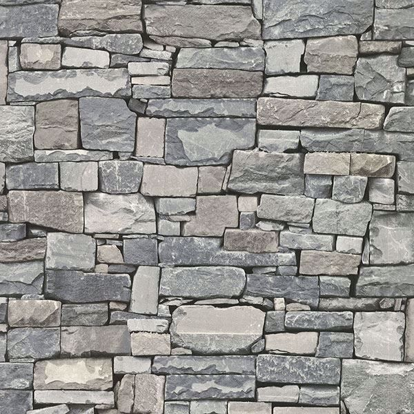 Picture of Wrangell Grey Stacked Slate Wallpaper