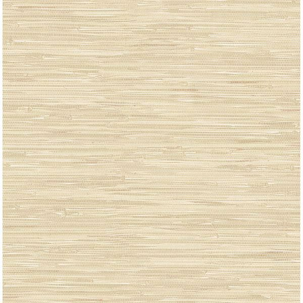 Picture of Maytal Light Yellow Faux Grasscloth Wallpaper