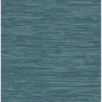 Picture of Maytal Blue Faux Grasscloth Wallpaper