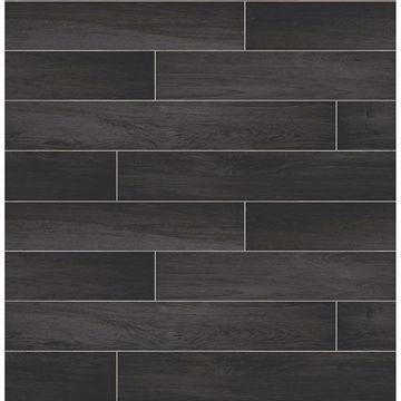 Picture of Nika Black Sleek Wood Wallpaper