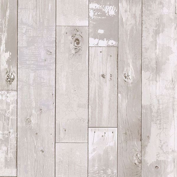 Picture of Harbored Light Grey Distressed Wood Panel Wallpaper