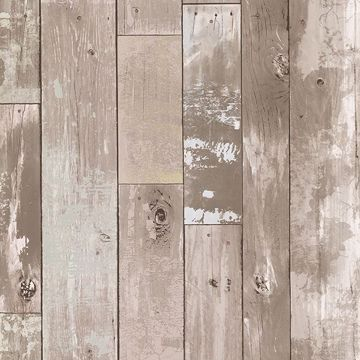 Picture of Harbored Neutral Distressed Wood Panel Wallpaper