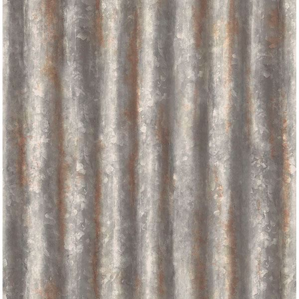 Picture of Alloy Silver Corrugated Metal Wallpaper