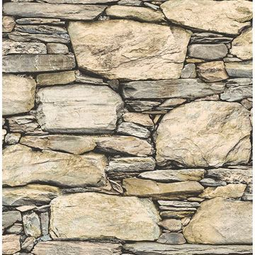 Picture of Cobble Neutral Stone Wall Wallpaper