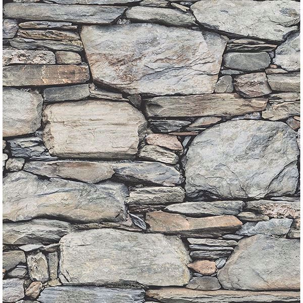 Picture of Cobble Light Grey Stone Wall Wallpaper