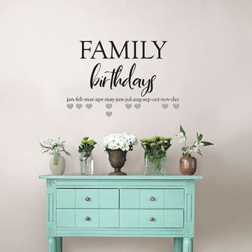 Picture of Family Birthdays Wall Quote Decals