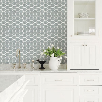 Picture of Aura Teal Honeycomb Wallpaper