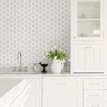 Picture of Aura Grey Honeycomb Wallpaper