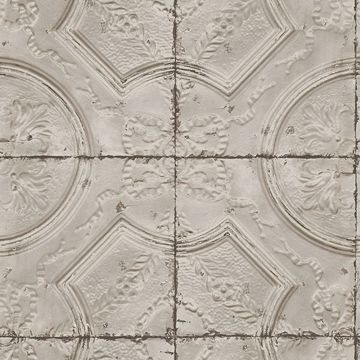 Picture of Susanna Taupe Vintage Tin Tile Wallpaper